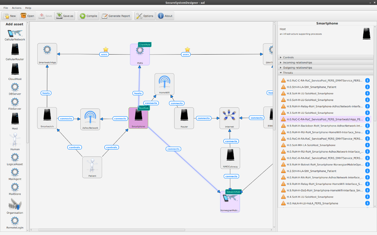 Screenshot of Secure System Designer (SSD) developed in OPTET